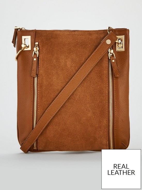 V by Very Bayley Leather Zip Detail Cross-Body Bag - Tan   very.co.uk 33a75350c9