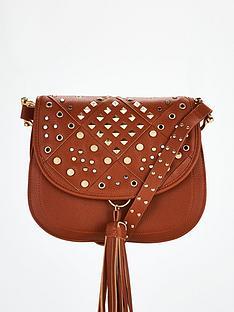 v-by-very-penny-stud-detail-saddle-bag-tan