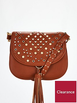 v-by-very-penny-stud-detail-saddle-bag-tan