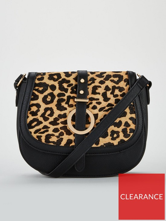 quality design 88aab 21ee0 V by Very Paige Leopard Leather Mix Saddle Bag - Black