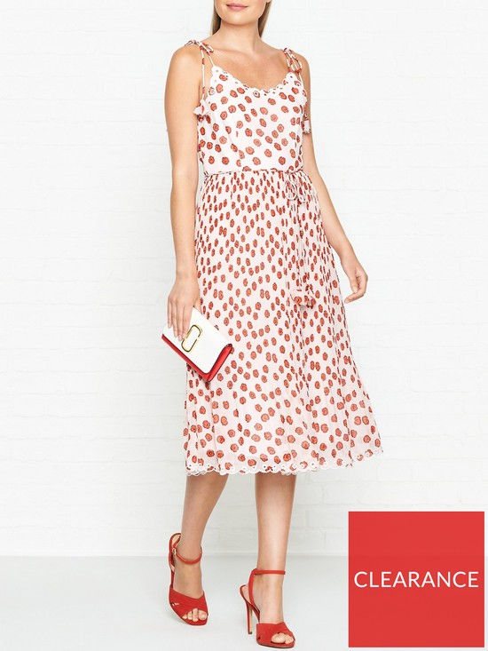 f67fb52c WHISTLES Salome Lenno Poppy Print Pleated Dress - Cream/Red | very.co.uk