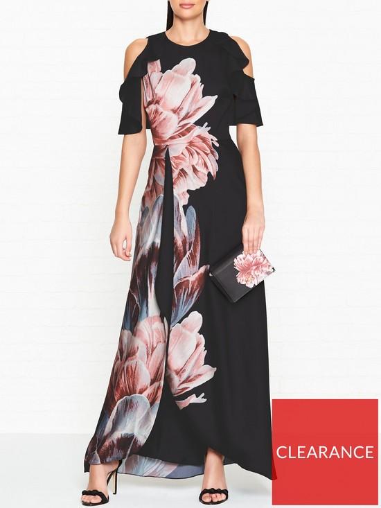 5380b0b7e588 Ted Baker Ulrika Tranquility Print Cold Shoulder Maxi Dress - Black ...