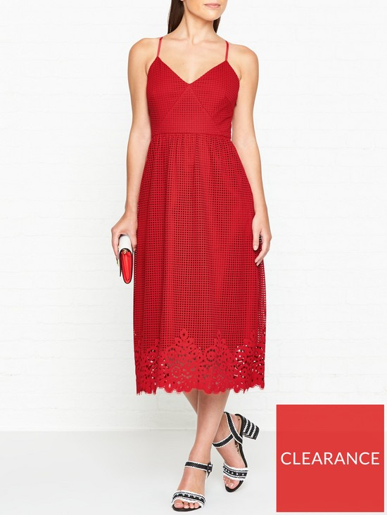 bdb27027a0 Tommy Hilfiger Helena Lace Midi Dress - Red | very.co.uk