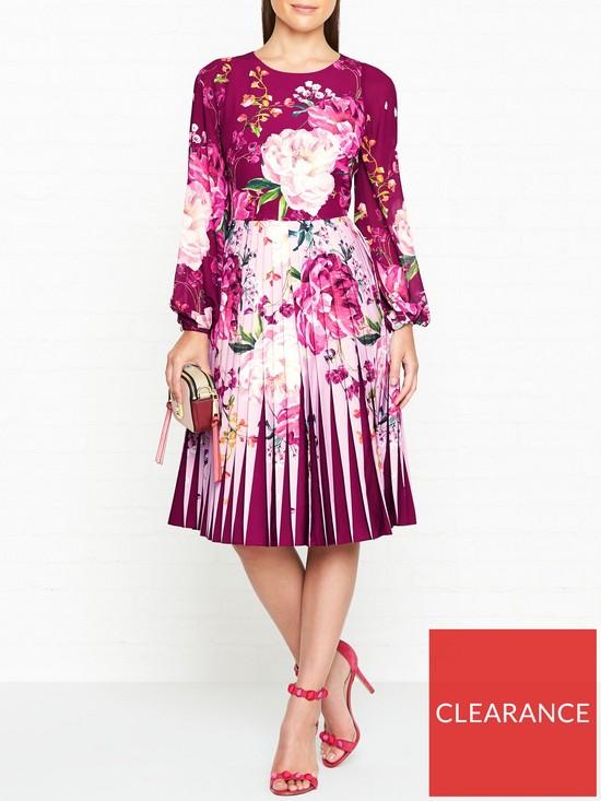 37d60ff3f5cf Ted Baker Esperan Serenity Print Contrast Print Long Sleeve Dress - Maroon