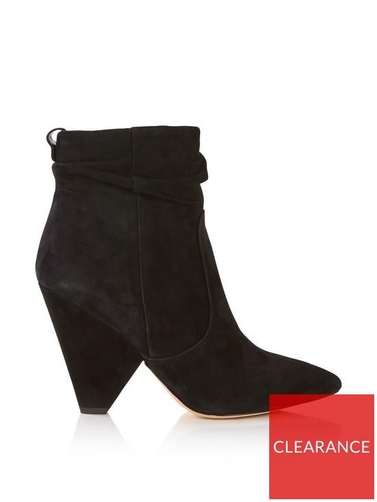 7842830c6 SAM EDELMAN Roden Suede Cone Heel Ankle Boots - Black
