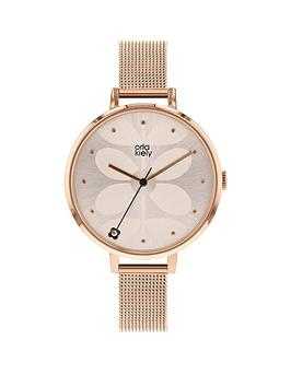 orla-kiely-ivy-white-stem-print-dial-rose-gold-stainless-steel-mesh-strap-ladies-watch