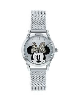 minnie-mouse-stone-set-dial-silver-stainless-steel-mesh-strap-ladies-watch