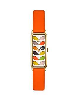 orla-kiely-ok2156-rectangular-case-multicolour-stem-print-dial-orange-leather-strap-ladies-watch