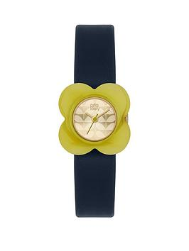 orla-kiely-champagne-gold-flower-print-dial-with-olive-flower-bezel-and-blue-leather-strap-ladies-watch