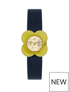 orla-kiely-orla-kielynbspchampagne-gold-flower-print-dial-with-yellow-flower-bezel-and-blue-leather-strapnbspladies-watch