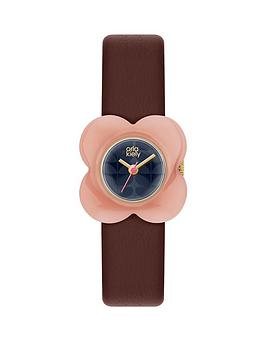 orla-kiely-blue-flower-print-dial-with-pink-flower-bezel-and-red-leather-strap-ladies-watch