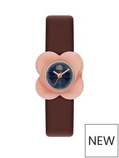 orla-kiely-orla-kiely-blue-flower-print-dial-with-pink-flower-bezel-and-red-leather-strapnbspladies-watch