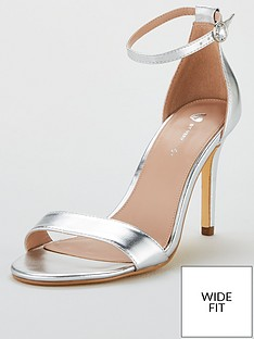 d428aef4711 V by Very Wide Fit Gemma Mid Heel Minimal Sandal - Silver