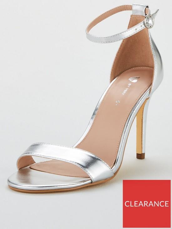 302292ad16f Wide Fit Gemma Mid Heel Minimal Sandal - Silver