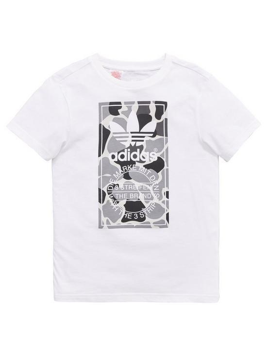 adidas Originals Boys Camo T Shirt White | very.co.uk