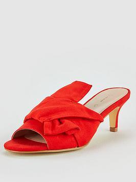 V By Very Goa Bow Kitten Heel Mule Sandal