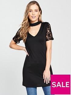 v-by-very-choker-lace-sleeve-longline-top-black