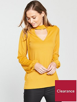 v-by-very-tie-choker-neck-blouse-yellow