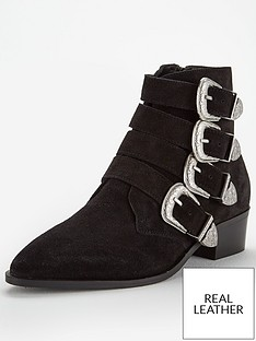d9e030a4238 V by Very Florence Real Suede Western Buckle Strap Ankle Boot