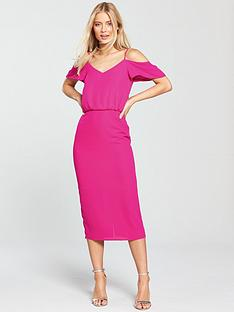 oasis-cold-shoulder-column-midi-dress-bright-pink