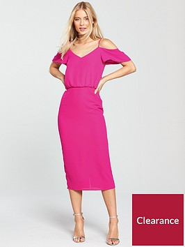 oasis-cold-shoulder-column-midi-dress-bright-pink