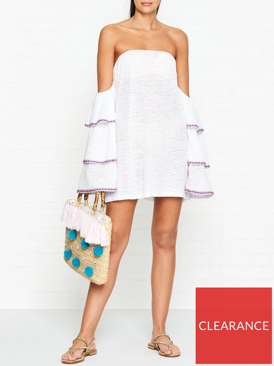 26d4f9e9197c PITUSA Latina Ruffle Sleeve Off Shoulder Dress - White