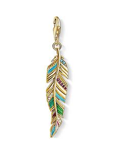 thomas-sabo-thomas-sabo-18k-gold-plated-sterling-silver-multicoloured-feather-charm