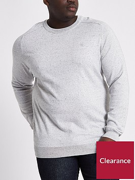 river-island-big-amp-tall-ash-knitted-crew-neck-jumper