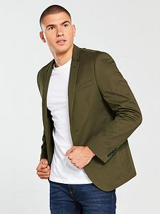 river-island-skinny-fit-cotton-blazer-khaki