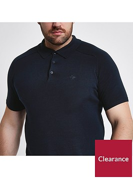 river-island-big-amp-tall-ss-slim-knitted-polo