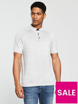 river-island-short-sleeve-slim-nep-knitted-polo