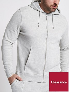 river-island-big-and-tall-pique-zip-through-hoody
