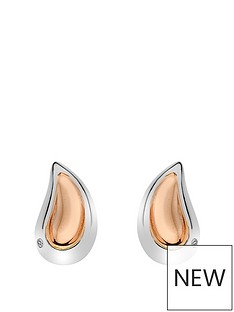 hot-diamonds-sterling-silver-and-rose-gold-plated-accents-droplet-earrings