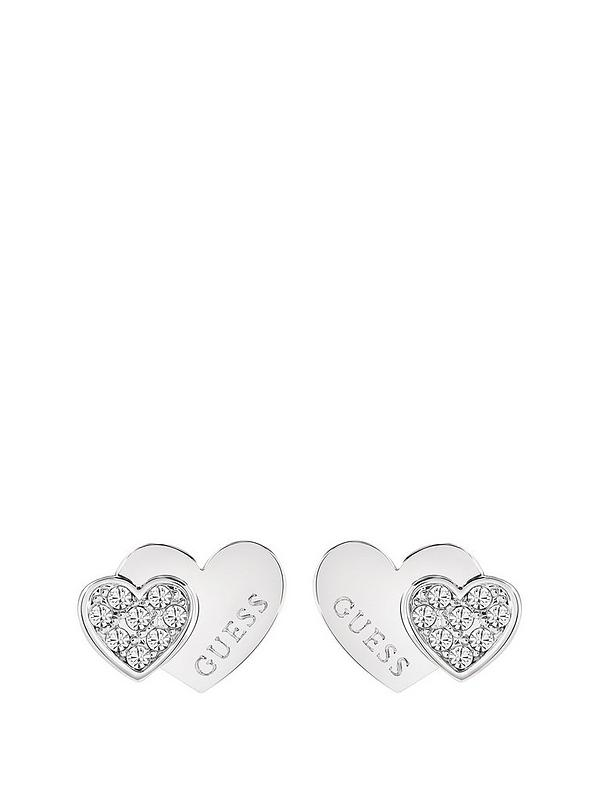 1c9f7bb58 Guess Rhodium Plated Crystal Set Heart Ladies Earrings | very.co.uk