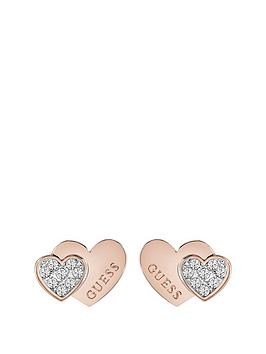 guess-rose-gold-plated-crystal-set-heart-ladies-earrings