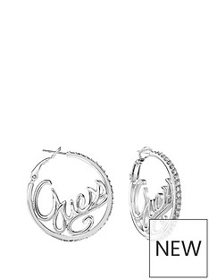 guess-guess-rhodium-plate-logo-hoop-ladies-earrings