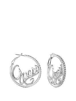 guess-guess-rhodium-plate-logo-hoop-ladies-earrings