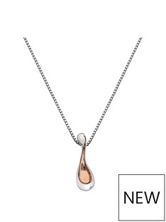 hot-diamonds-sterling-silver-and-rose-gold-plated-accents-droplet-pendant