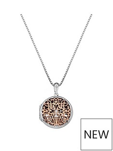 hot-diamonds-sterling-silver-and-rose-gold-accents-small-circle-filigree-locket