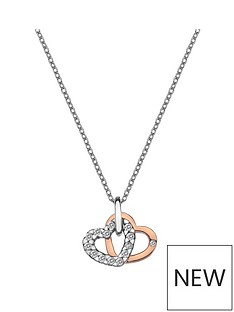 hot-diamonds-sterling-silver-and-rose-gold-plated-white-topaz-double-heart-pendant