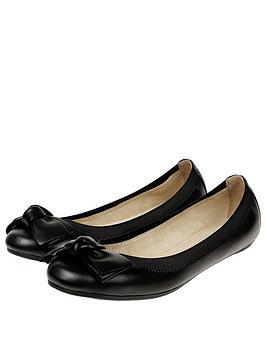 Accessorize Leather Elastic Bow Ballerina - Black