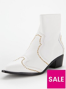 V by Very Finland Pin Stud Ankle Boot - White fb5a3920a421f
