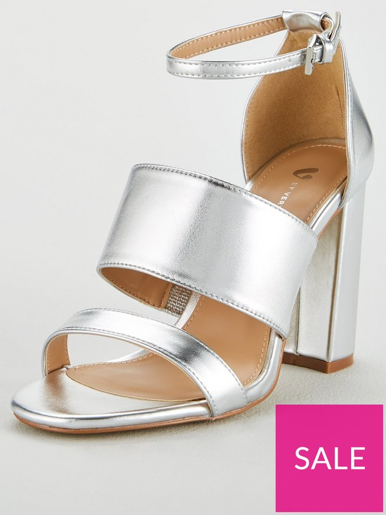 74776fdf311 V by Very Wide Fit Bess High Block Heel 3 Strap Sandal - Silver ...