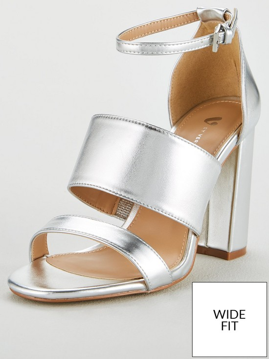 2bb6a223a37 V by Very Wide Fit Bess High Block Heel 3 Strap Sandal - Silver ...