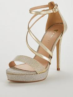 c49a5c07fbb V by Very Wide Fit Bex High Platform Glitter Lurex Sandal