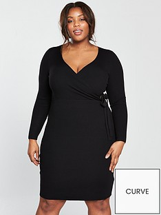 lost-ink-curve-knitted-wrap-dress-with-eyelet-detail-black