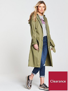 maison-scotch-technical-long-hooded-trench-coat-army-khaki