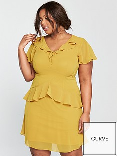 lost-ink-curve-skater-dress-with-frills-yellow