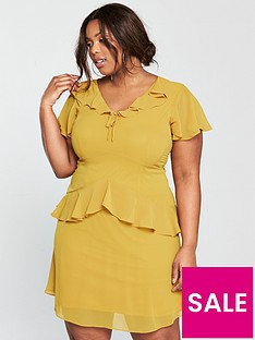 lost-ink-plus-skater-dress-with-frills-yellow