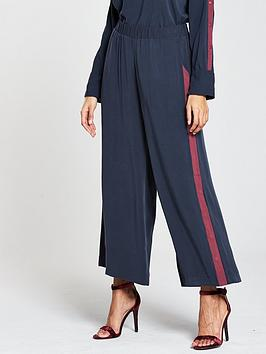 Native Youth Press Stud Trousers - Navy/Burgundy